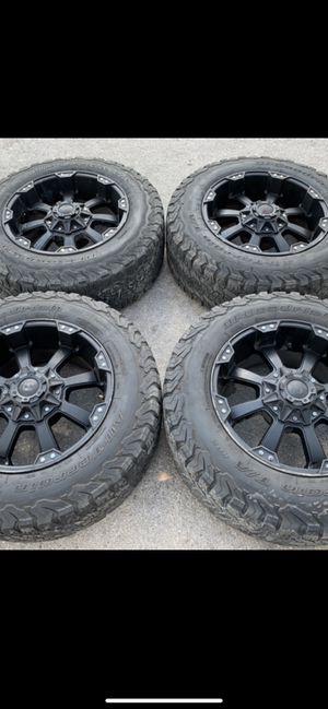 "20"" black ballistic Rims and BFG all terrain Tires 20 Off road wheels 20s Rines negros y llantas 6 lug will Fit Ford F150 , Chevy Silverado, GMC Sie for Sale in Dallas, TX"
