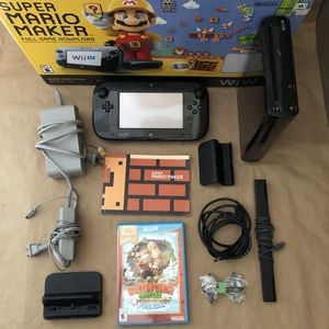 Super Mario Maker Console Deluxe Set Nintendo Wii U 32GB With Donkey Kong Game for Sale in San Antonio, TX