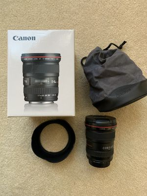 Canon EF 17-40mm f/4 L Wide Angle Lens with lens hood, pouch and box for Sale in Tigard, OR