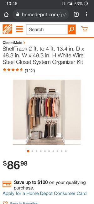 Closetmaid ShelfTrack steel closet system organizer for Sale in East Providence, RI