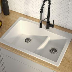 "KRAUS Quarza™️ 33"" Dual Mount 60/40 Double Bowl Granite Kitchen Sink in White(Shipping corner crack) for Sale in Houston, TX"