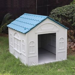 $85 (new in box) waterproof plastic dog house for medium size pet indoor outdoor cage kennel 39x33x32 inches for Sale in Santa Fe Springs,  CA