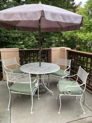 Wrought Iron Patio Set Table and chairs with cushions for Sale in MONTE VISTA, CA