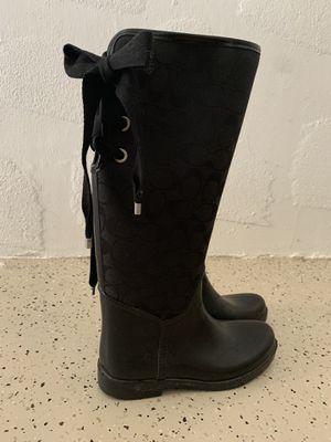 Black Coach Rain boots with lace up back for Sale in Fort Myers, FL