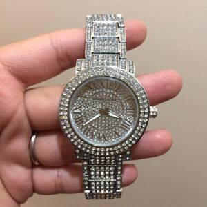 Mk Michael kors analogue crystal watch silver tone unisex for Sale in Silver Spring, MD