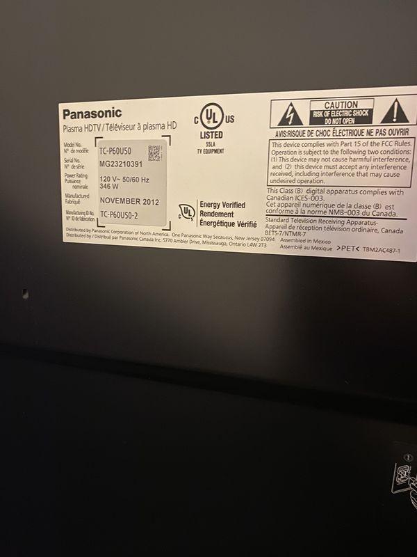 60 inch Panasonic Plasma TV, model #TC-P60U50