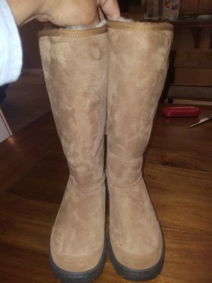 UGG Ultimate Tall Revival Braid Chestnut Suede Boot US 7 New Style 5340 for Sale in Reedley, CA