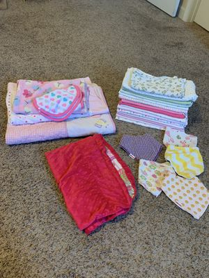 Baby bundle blankets car seat canopy and bins all clean for Sale in Fayetteville, NC