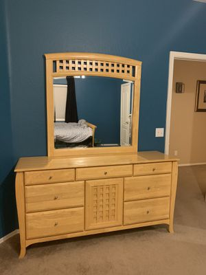 Large Wooden Dresser with Mirror for Sale in Surprise, AZ