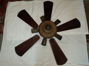 Antique Etched Glass and Balsa Wood Ceiling Fan for Sale in Baltimore, MD