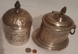 2 Vintage Silver Metal Containers, Storage Boxes, Stash Boxes, Each One of these Containers has a problem, One has a crack for Sale in Lakeside, CA