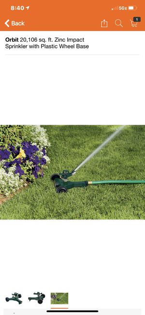 Orbit 20, 106 sq. Ft zinc impact sprinkler with plastic wheel base for Sale in Long Beach, CA