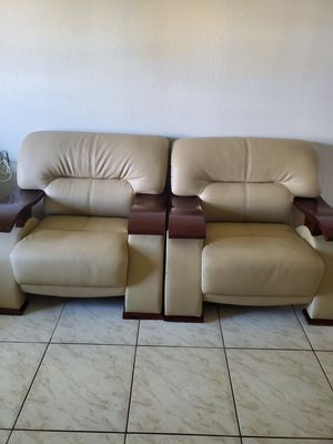 Sofa, Loveseat and chair, 3 piece Leather sofa set (Other than 2 small areas on chair with scrathes, they are on good shape..ASKING $350.00 for Sale in Miami, FL