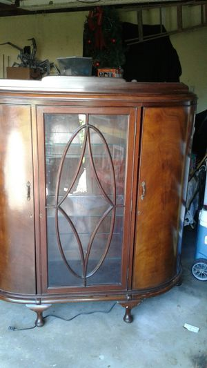 Beautiful antique lighted display or curio cabinet for Sale in Sugar Land, TX
