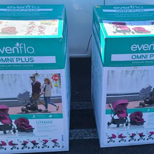 BLACK FRIDAY DEAL NEW ONLY $$$200$$$ Evenflo Urbini Omni Plus Travel System with LiteMax Infant Car Seat, Raspberry Fizz Pink for Sale in Los Angeles, CA