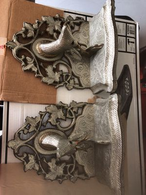 Ornate silver and pewter wall hanging shelves for Sale in New Braunfels, TX