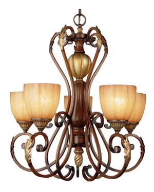 5-light Chandelier w/Champagne Glass Shades for Sale in East Freetown, MA