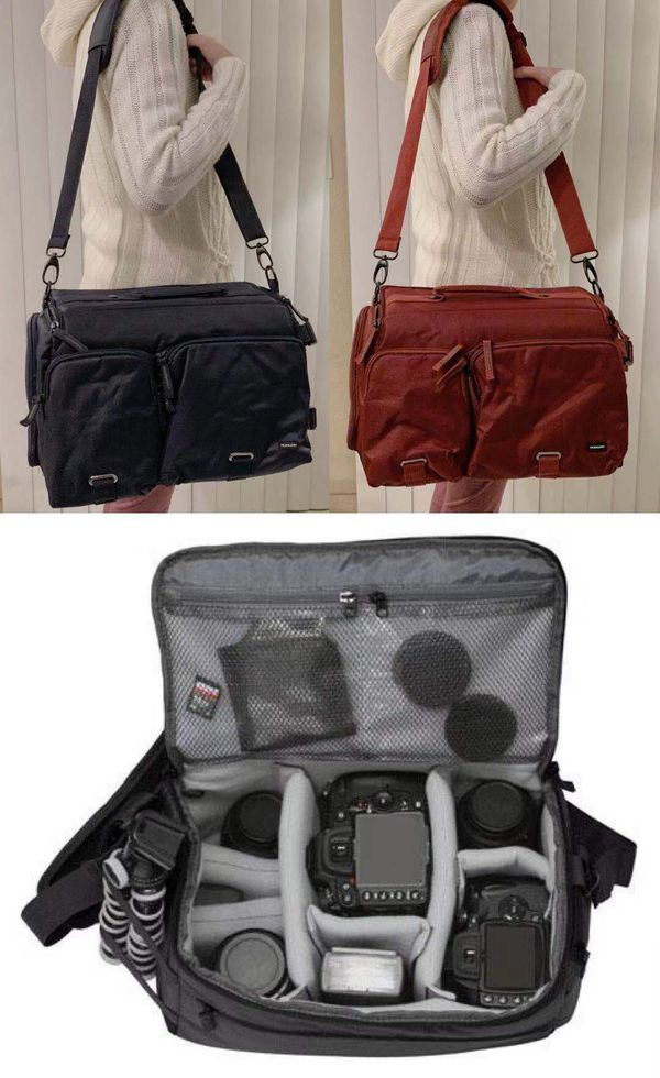 New in box $15 each cross body Navy or Dark Red Professional SLR Camera Bag cushioned