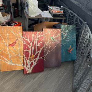 Decorative Painting - Birds and Tree for Sale in Fort Lauderdale, FL