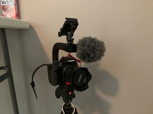 Canon t7i kit with two lenses, action mount, rode mic, and manfrotto sport tripod for Sale in New Port Richey, FL