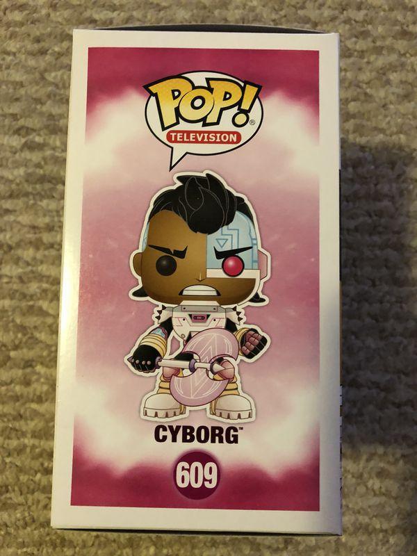 2 POPS! FOR 1 PRICE! FUNKO POP TEEN TITANS GO! CYBORG # 609 FLOCKED BEAR # 608!