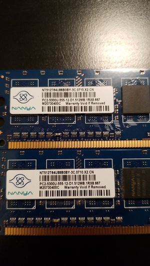 Nanya computer memory 1 gig, 2 512mg sticks PC2-5300U-555-12-D1.512MB. 1RX8 667 for Sale in Fairfax, VA