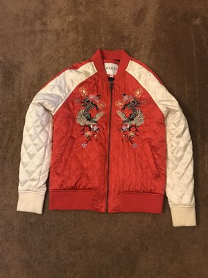 Guess Irvine Satin Raglan Bomber Jacket - Size Small for Sale in Upper Marlboro, MD