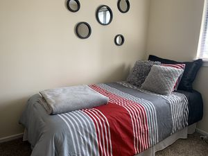 Twin XL bed, frame, and linens 38 X 80 inches never slept in-bought 6 months ago for Sale in Fort Mill, SC