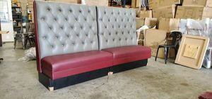 """Custom Commercial TUFTED DIAMOND Restaurant Booth Banquette Seating Extra Tall 54"""""""" High x 8 Feet or 96"""""""" Long BURGUNDY AND GRAY VINYL for Sale in South El Monte, CA"""