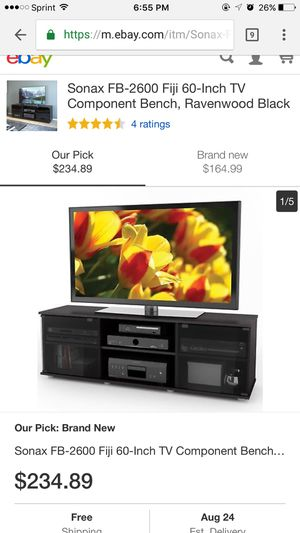 sonax bx 6010 bromley 60-inch midnight black tv component bench for Sale in Belleville, IL