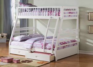 Twin/Full Bunk Bed AND Drawers - 37040 - White AO5M for Sale in Pomona, CA