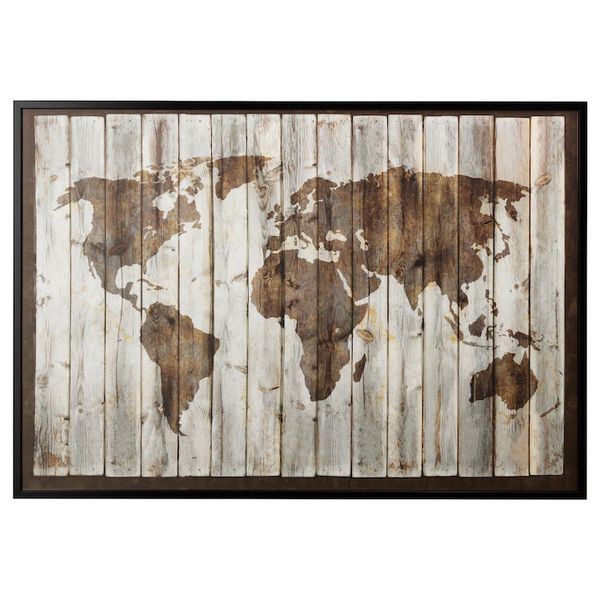 BJÖRKSTA Picture and frame, driftwood map, black, 78 ¾x55