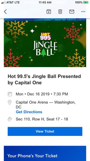 JINGLE BALL at CAPITAL ONE ARENA-2 TICKETS- SECTION 110 for Sale in Burke, VA