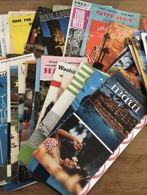 115 vintage travel pamphlets and maps for Sale in Seattle, WA