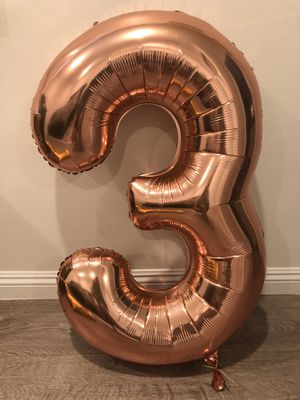 Number 3 Rose Gold Balloon for Sale in Alhambra, CA