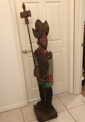 """Conquistador Wood Statue - 62"""" Tall for Sale in Tampa, FL"""