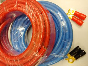 Car audio accessories :( total 2) 1 red 1 blue 4 gauge 25 feet CCA high performance power cable 4 ring terminals for Sale in Bell Gardens, CA