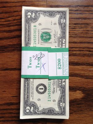 NEW 2 Dollar bills stack and sealed $350.00 today for Sale in Homestead, FL