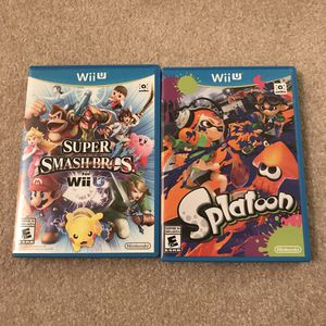 Nintendo Wii u video games super smash bros and splatoon disc case complete for Sale in Burtonsville, MD