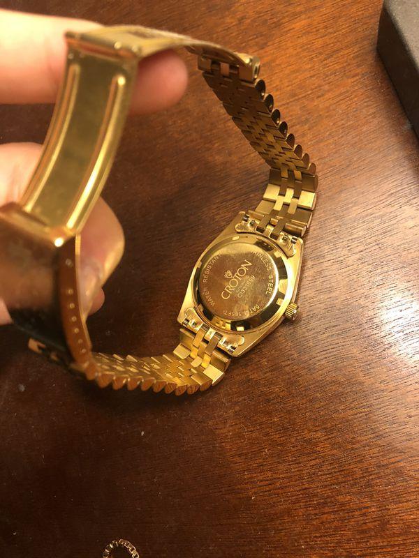 Men croton automatic gold watch