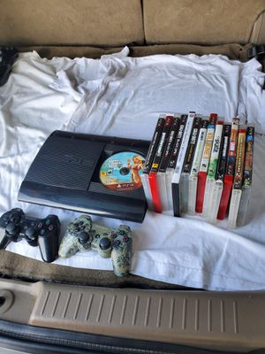 Playstation super slim 500GB 13 Games 2 controllers with all cables all work 100% we could FaceTime all work 100% free delivery in person test it out for Sale in Santa Fe Springs, CA
