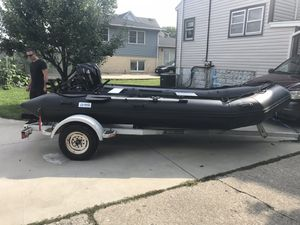 Inflatable boat with outboard for Sale in Riverside, IL
