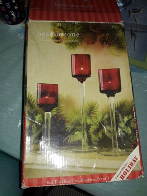 3 pc Red Glass Candle Holders for Sale in San Diego, CA