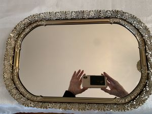 Vanity mirror tray vintage antique gold tone and white filigree for Sale in Eagan, MN