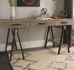 DESK $395 BRAND NEW brown rustic wooden table/desk with black metal base for Sale in Tampa, FL
