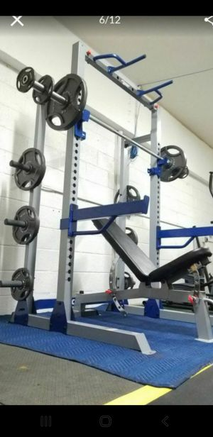 ( EXERCISE FITNESS 365 ) COMPLETE OLYMPIC WEIGHT SET WITH PULL UP AND DIP BARS, BENCH, OLYMPIC BARBELL, FULL SET OF OLYMPIC WEIGHTS ( NEW IN BOX ) for Sale in Bellflower, CA