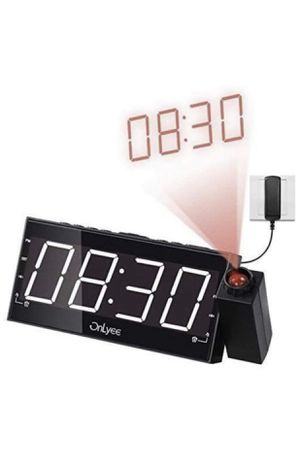 """Projection Clock with FM Radio, 7"""" LED Display, Wall Ceiling Clock, Nap/Sleep Timer, 3 Dimmer, Dual Alarm and Dual USB Ports for Wall,Travel, Bedroom for Sale in Montclair, CA"""