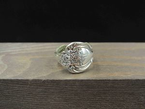 Size 4 Sterling Silver Flower Spoon Rustic Band Ring Vintage Statement Engagement Wedding Promise Anniversary Bridal Cocktail for Sale in Everett, WA