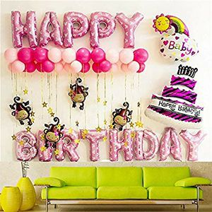 Monkey Balloons Happy Birthday Letter Banner for Baby Stickers Decoration Set Girl Boy Aluminum Foil Pump Star Baby Girl Boy Kid 40 Pack for Sale in Rancho Palos Verdes, CA