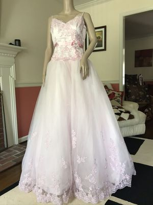 Pink wedding dress-quinceanera-princess costume- size 10 for Sale in Newport News, VA